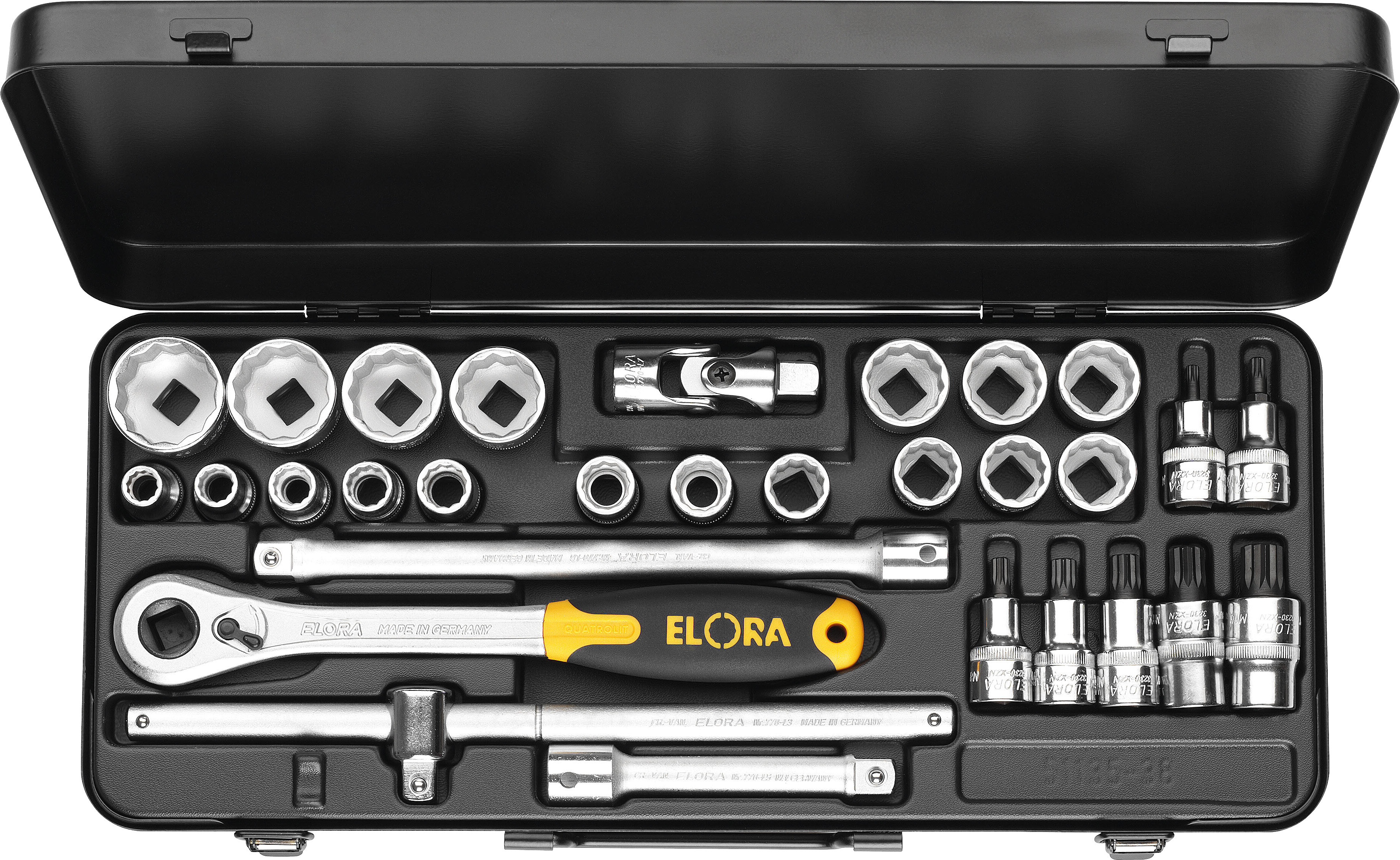 "ELORA Socket Set 1/2"", hexagon+xzn, 30-pcs. 10-32 mm, ELORA-771-OKLXZNK"