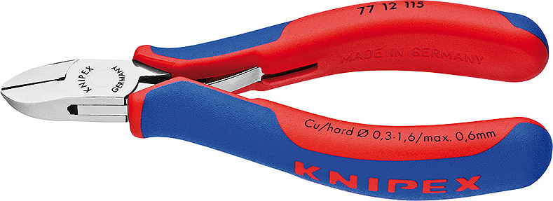 KNIPEX Electronics Diagonal Cutter mirror polished with multi-component grips 115 mm